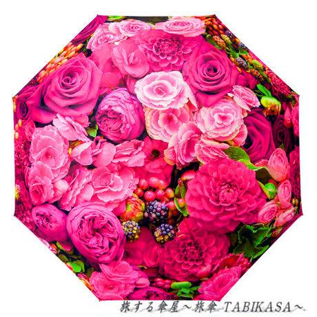 おしゃれ/暴風  傘専門店 通販 東京 レディース 折 雨傘 手動 手開き サビない 旅傘【折畳 58㎝ Rose】