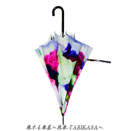 おしゃれ傘  傘専門店 通販 東京 レディース グラスファイバー 雨傘 ワンタッチ ジャンプ サビない 旅傘【長傘 58㎝ Bouquet】