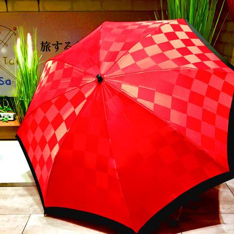 【折 2段 日本製】傘専門店 通販 東京 折りたたみ傘 日傘 雨傘 晴雨兼用  旅傘【市松 ツートン 紅】