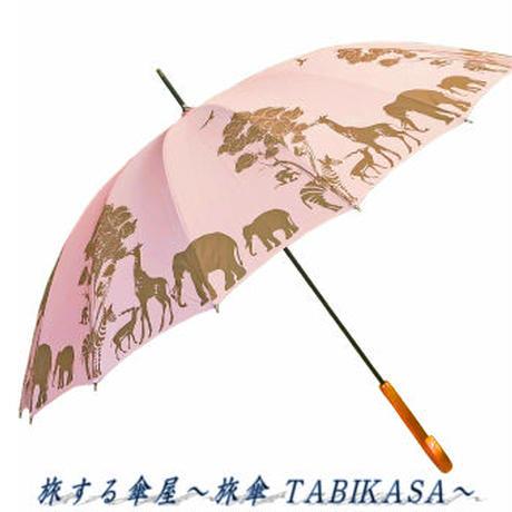 【16本骨シリーズ】傘専門店 通販 東京 メンズ レディース 手開き 軽量 黒骨 サビない 旅傘【動物園 Pink Brown】