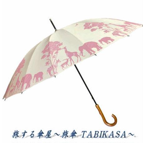 【16本骨シリーズ】傘専門店 通販 東京 メンズ レディース 手開き 軽量 黒骨 サビない 旅傘【動物園 White Pink】