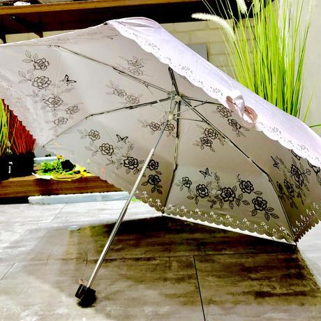 【折 日傘 55cm 暴風シリーズ】傘専門店 通販 東京 折りたたみ傘 UV 日傘 雨傘 晴雨兼用 遮光 遮熱 旅傘【清涼効果 Flower Pink】