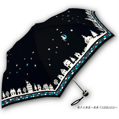 【風速25mまで耐える】傘専門店 通販 東京 折りたたみ 雨傘 グラスファイバー サビない 旅傘 【耐風 夜空と猫ちゃん Black】