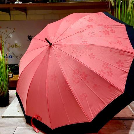 【浮き出シリーズ】傘専門店 通販 東京 雨傘 ワンタッチ ジャンプ 黒骨 サビない 旅傘【濡れると模様が浮き出る 桜柄 桃】