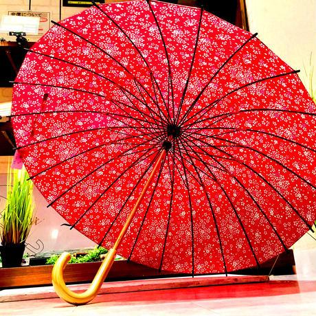 【24本骨 シリーズ】傘専門店 通販 東京 雨傘 晴雨兼用 日傘 UV遮蔽 サビにくい 黒骨 旅傘【満開の桜 エンジ】