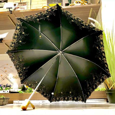 【折 2段 清涼効果】傘専門店 通販 東京 折りたたみ傘 遮光遮熱 UV 日傘 雨傘 晴雨兼用  旅傘【刺繍 Flower Black】