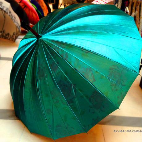 プレゼントへ 傘専門店 通販 東京 レディース 雨傘 サビにくい 丈夫 旅傘【サテン  16本  緑】