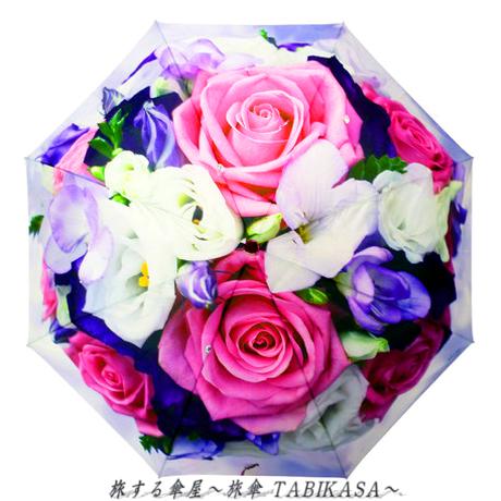 おしゃれ/暴風  傘専門店 通販 東京 レディース 折 雨傘 手動 手開き サビない 旅傘【折畳 58㎝ Bouquet】