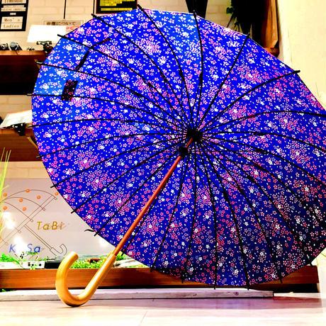 【24本骨 シリーズ】傘専門店 通販 東京 雨傘 晴雨兼用 日傘 UV遮蔽 サビにくい 黒骨 旅傘【満開の桜 紺色 】