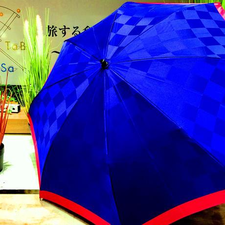 【折 2段 日本製】傘専門店 通販 東京 折りたたみ傘 日傘 雨傘 晴雨兼用  旅傘【市松 ツートン 紺】