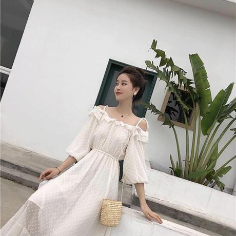 肩紐リボン付き♡マキシ丈シフォンワンピース 夏 サマードレス (白)