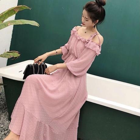 肩紐リボン付き♡夏 マキシ丈シフォンワンピース 夏 サマードレス (ピンク)