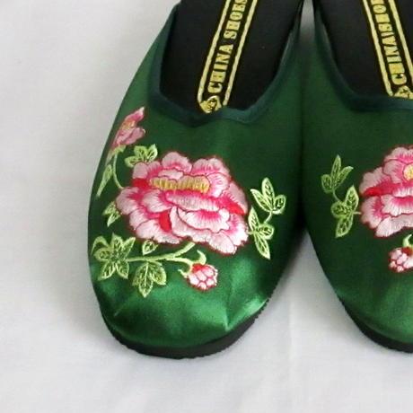 チャイナサンダル(刺繍・花)グリーン