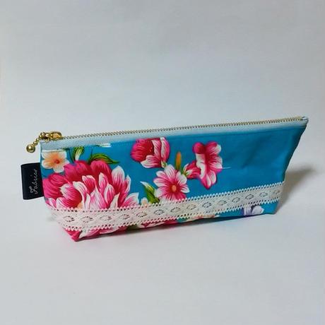 台湾花布のペンケース(ブルー・牡丹)