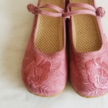 刺繍ストラップシューズ(ピンク)