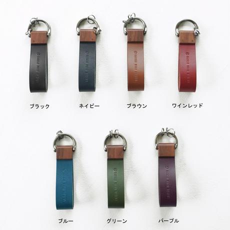 key holder【ウォールナット】 - 木と革のキーホルダー -