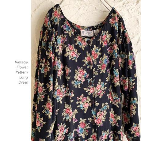 Vintage Flower Printロングワンピース