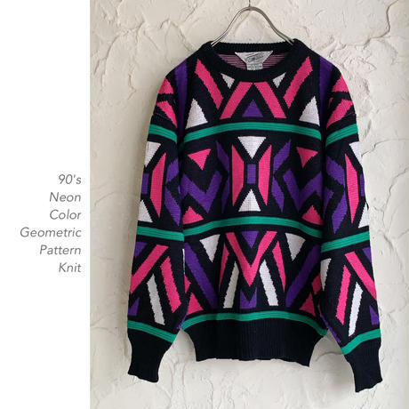 90's Neon Color Patternニット