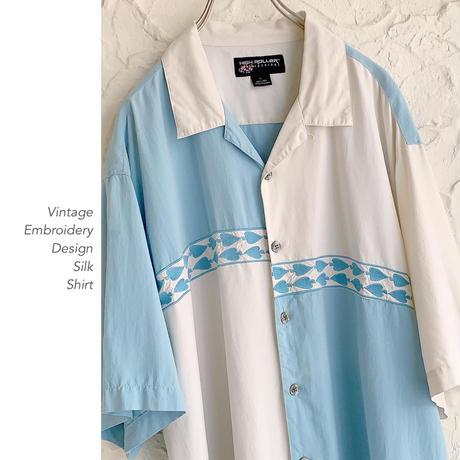 Vintage Embroidery Designシルクシャツ