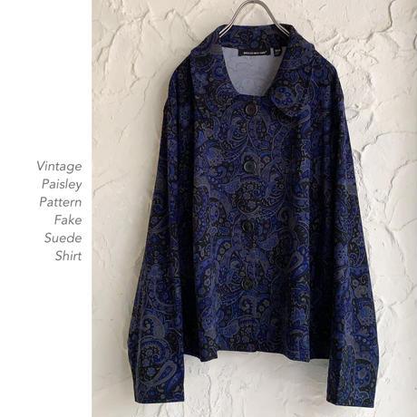 Vintage Paisley Patternフェイクスウェードシャツ
