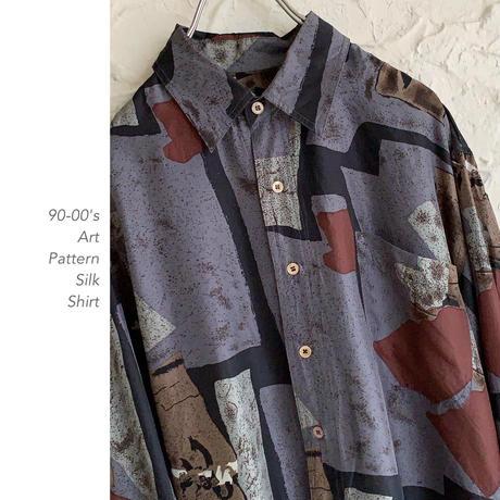 90-00's Art Pattern Silkシャツ