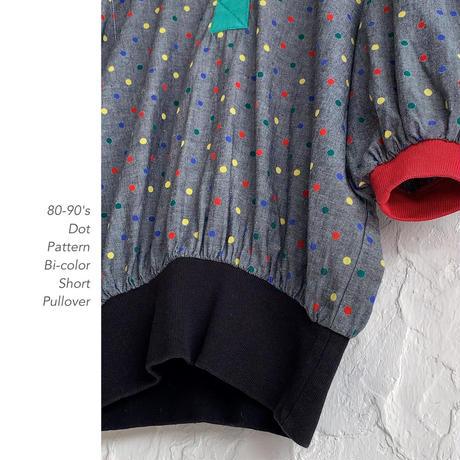 80-90's Dot&Bi-colorショート丈プルオーバー