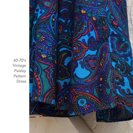 60-70's Vintage Paisley Patternワンピース