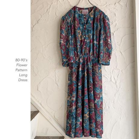 80-90's Flower Patternワンピース