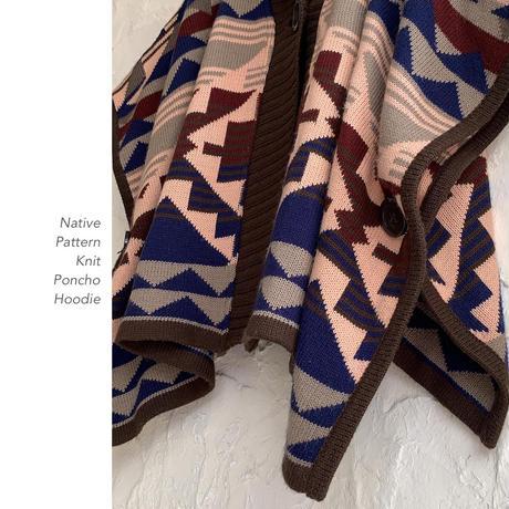 Native Pattern フード付きポンチョ