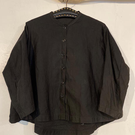 Circa 40's French Black Cotton  Blouse