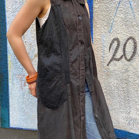 Circa 30's French Patchwork Black Cotton Sleeveless Coat