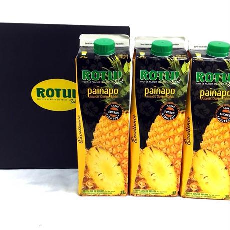 灼熱果汁100%「ROTUI」パイナップルジュース1000ml BOX付き 3本セット