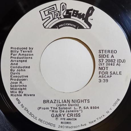 Gary Criss / Brazilian Nights (7inch)