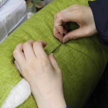 小座布団 50×55cm 本麻・生平/引き染めグリーン【角房なし】