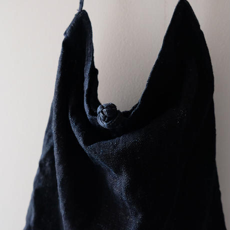 ラフチャイナバッグ/藍染の麻古布