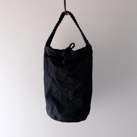 丸底編み手トート/墨黒