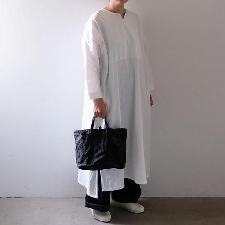 チャイナボタンのトート/柿渋  黒