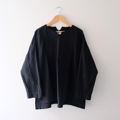 キーネックトップス(黒・たっぷり)/Lady's