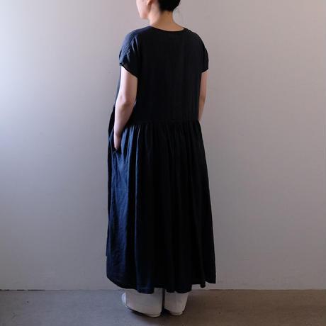 ギャザーワンピース(墨黒)/Lady's