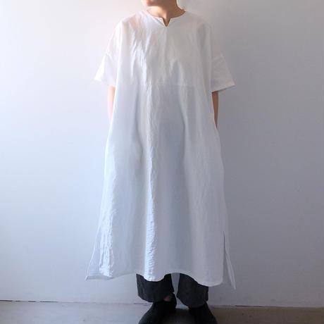 半袖キーネックワンピース(白)/Lady's