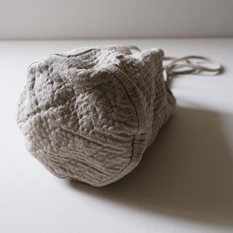 ステッチ巾着ショルダー/ビンテージリネンベージュ