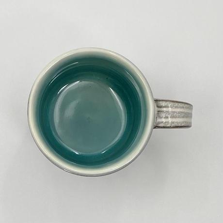 雅峰窯 鎬切立マグカップ (トルコブルー/白)