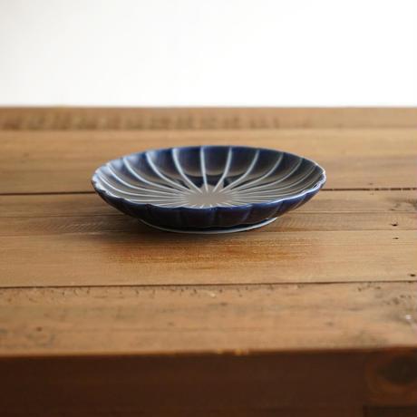 ぎやまん陶〜4寸皿〜 茄子紺ブルー