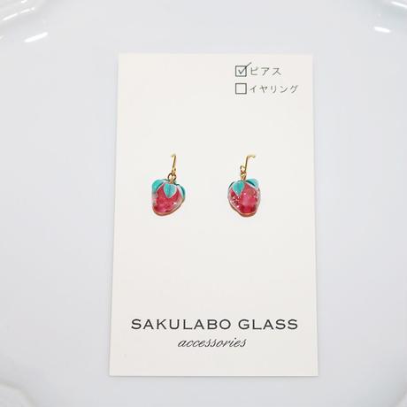 フックピアス 〜苺〜 SAKURABO GLASS