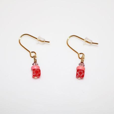 ピアス 〜GL001 pink × red 〜  Tournesol