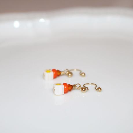 イヤリング 〜GL1001 orange × white 〜  Tournesol