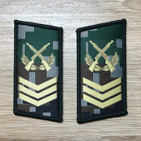 【二級軍士長】中国人民解放軍07式迷彩服用 林地迷彩柄 襟章 階級章