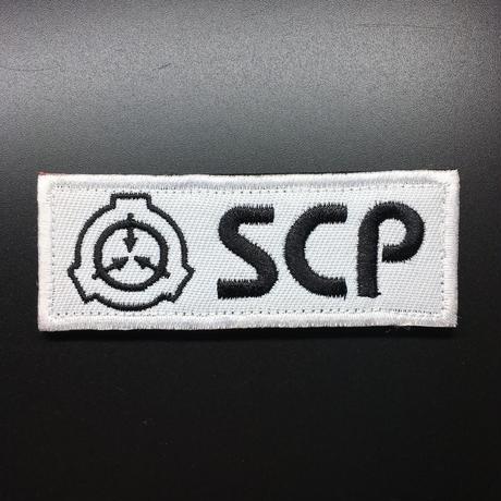 【8cmX3cm】黒・白 SCP財団 シンボル 刺繍ベルクロワッペン マジックテープ 識別章