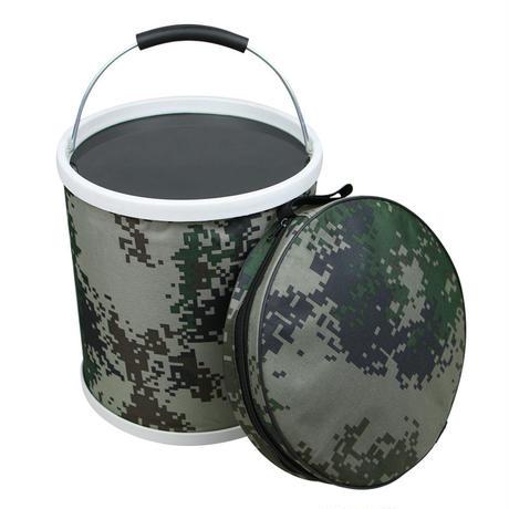 中国人民解放軍 行軍携行用コンパクト折畳みバケツ 07式林地迷彩柄 専用ポーチ付き