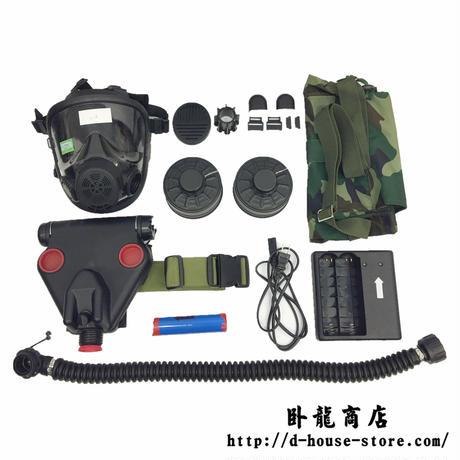 中国人民解放軍 FNM010防毒マスクセット 通話機能アリ 専用輸送ボックス 電動送風機 バッテリー2点 専用充電器 説明書 フィルター2点 携行用ポーチ